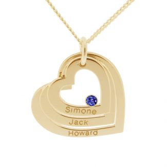 9ct Yellow Gold  Plated Engraved Triple Heart Pendant With Sapphire