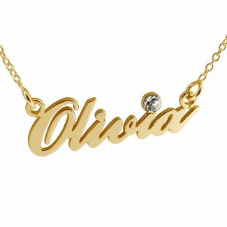 14k Gold Carrie Style Name Necklace With CZ Crystal (Sex & The City)
