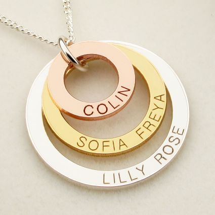 Three Colour 9ct Gold Triple Disc Personalised Family Necklace