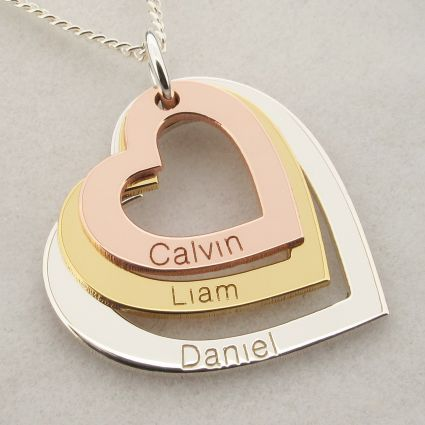 Mothers Day Gift Triple Heart Family Three Colour Gold Plated Necklace