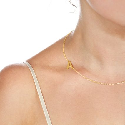 9ct Yellow Gold Plated Side Initial Necklace
