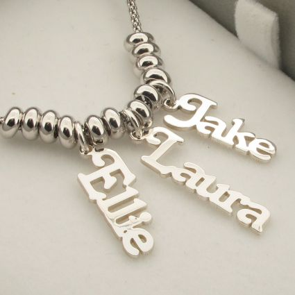 Name Pendants on Rhodium Plated Chain with Rhodium Plated Beads