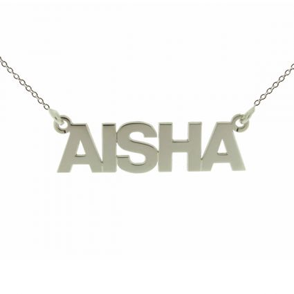 Sterling Silver Block Style Name Necklace