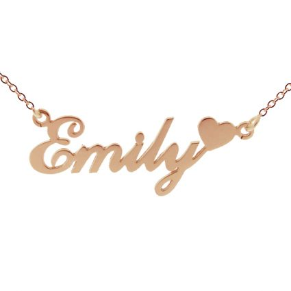 9ct Rose Gold Carrie Style Personalised Name Necklace with Heart