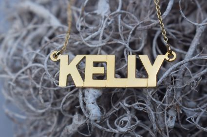 9ct Yellow Gold Block Style Personalised Name Necklace