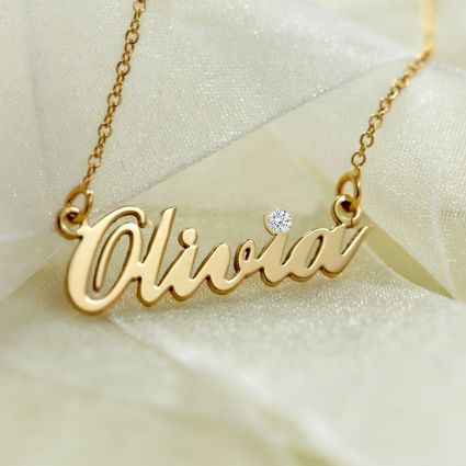 9ct Yellow Gold Carrie Style Personalised Name Necklace With Crystal (Sex & The City)