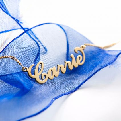 9ct Yellow Gold Plated Carrie Style Personalised Name Necklace with Curl