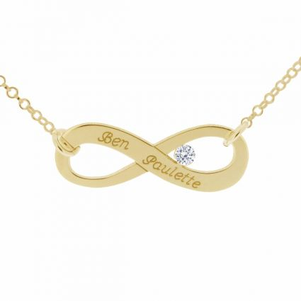 9ct Yellow Gold Plated Infinity Necklace With CZ Crystal