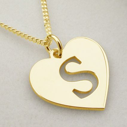 9ct Yellow Gold Plated Initial Heart Pendant