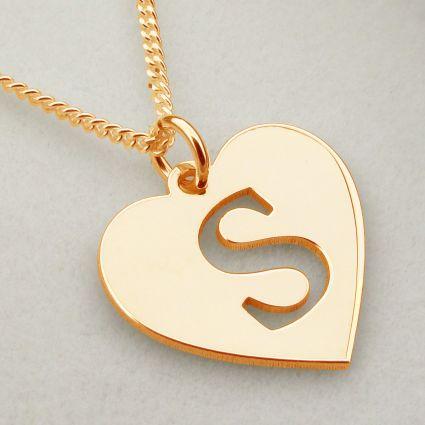 9ct Rose Gold Initial Heart Pendant