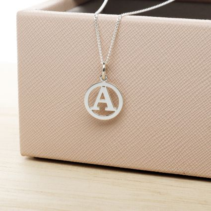 Sterling Silver Round Initial Disc Pendant