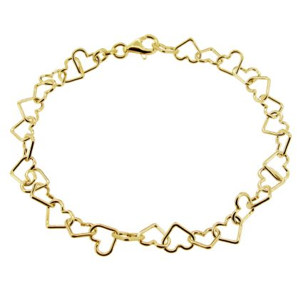 Yellow Gold Plated Heart Link Charm Bracelet