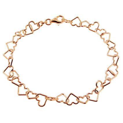 Rose Gold Plated Heart Link Charm Bracelet