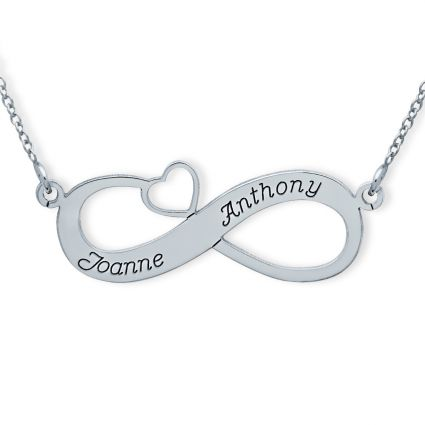 Sterling Silver Infinity With Heart Necklace
