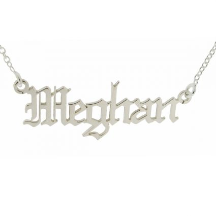 Sterling Silver Gothic Old English Personalised Name Necklace