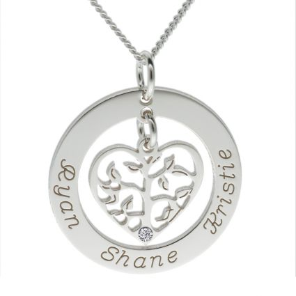 9ct White Gold Filigree Heart Tree of Life Family Necklace With Clear Swarovski Crystal