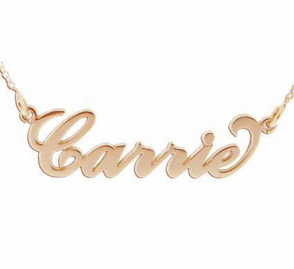 9ct Rose Gold Plated Carrie Style Personalised Name Necklace with Curl