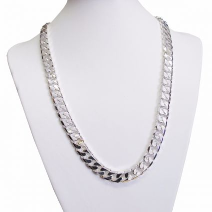 Sterling Silver 11mm Mens Chunky Curb Chain - Fathers Day Gift