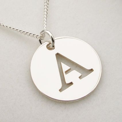9ct White Gold Initial Disc Pendant