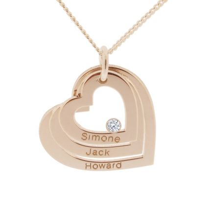 9ct Rose Gold Plated Engraved Triple Heart Pendant With Diamond