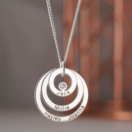 9ct White Gold Engraved Triple Disc Personalised Family Necklace With Diamond
