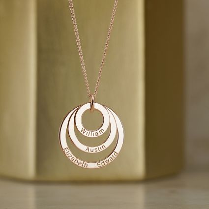 9ct Rose Gold Plated Triple Disc Personalised Family Necklace