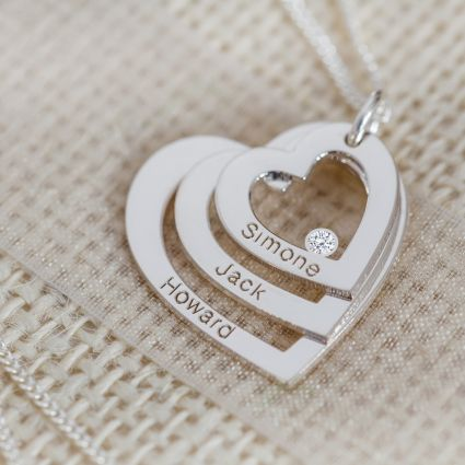 9ct Solid White Gold Engraved Triple Heart Pendant With Diamond