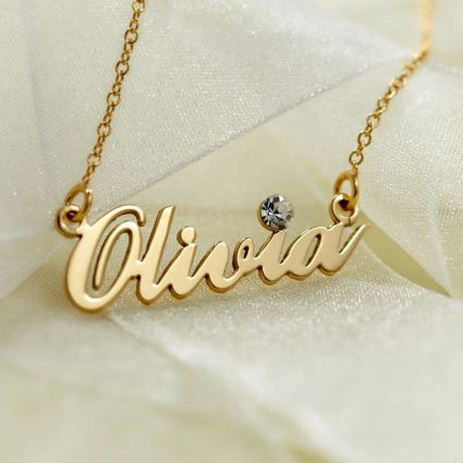 9ct Yellow Gold Plated Carrie Style Personalised Name Necklace With Crystal (Sex & The City)