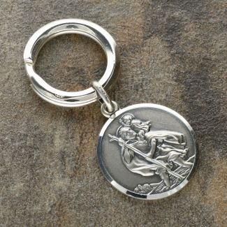 Antique Finish Sterling Silver 24mm St Christopher Keyring With Travellers Prayer and Optional Engraving