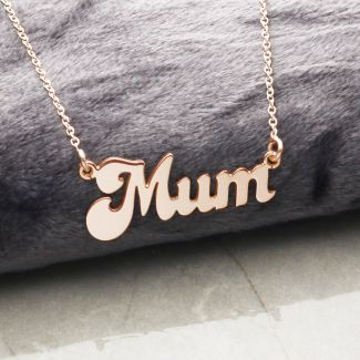 9ct Rose Gold Plated Banana Split Style Mum Necklace