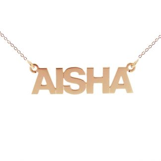 9ct Rose Gold Plated Block Style Personalised Name Necklace