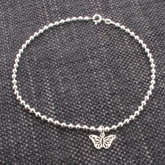 Sterling Silver Bead Ball BraceletWith Butterfly Charm