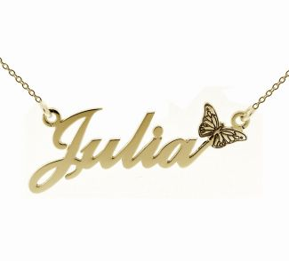 9ct Yellow Gold Plated Carrie Style Personalised Name Necklace with Butterfly