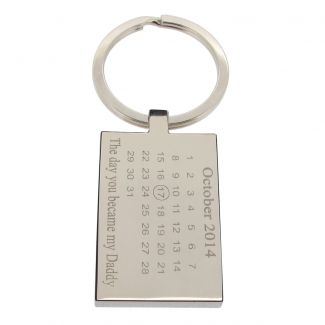 Mirror Polished Special Date Calendar Rectangle Keyring