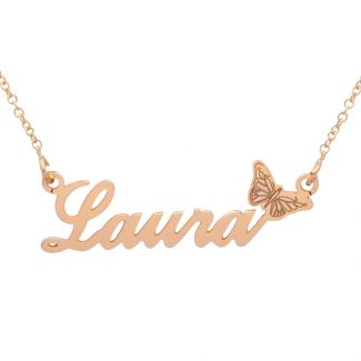 9ct Rose Gold Plated Carrie Style Personalised Name Necklace with Butterfly