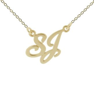 9ct Yellow Gold Plated  Carrie Style Double Initial Pendant