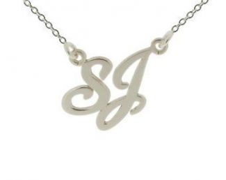 9ct White Gold Carrie Style Double Initial Pendant