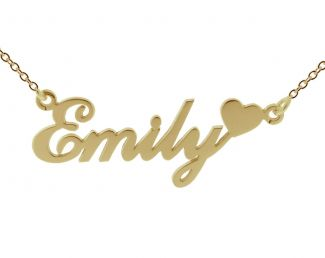 9ct Yellow Gold Carrie Style Personalised Name Necklace with Heart