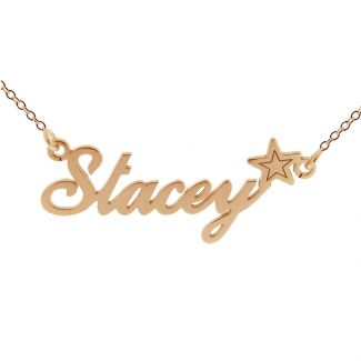 9ct Rose Gold Plated Carrie Style Personalised Name Necklace with Star