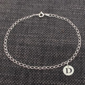 Sterling Silver Curb Bracelet With Initial Disc