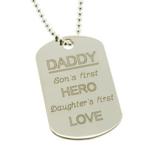 Sterling Silver Daddy Large Dog Tag With Engraving