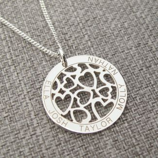 Sterling Silver Hearts in Engraved Disc Necklace