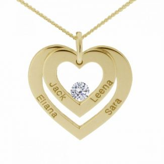 9ct Yellow Plated Gold Double Heart Personalised Necklace With Diamond