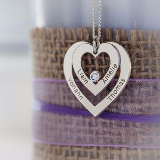 Sterling Silver Double Heart Personalised Necklace With Crystal