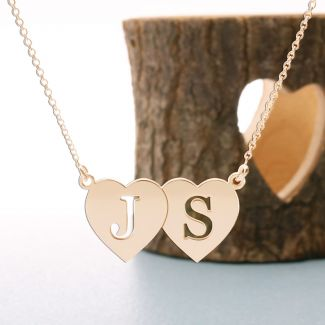 9ct Rose Gold Plated Double Heart Cut Out Initial Pendant