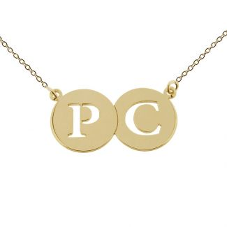 9ct Yellow Gold Plated Initial Double Disc Pendant