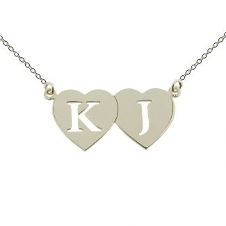 9ct White Gold Double Heart Cut Out Initial Pendant