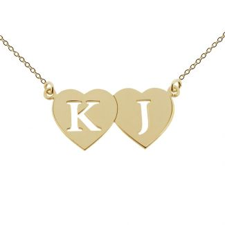 9ct Yellow Gold Plated Double Heart Cut Out Initial Pendant