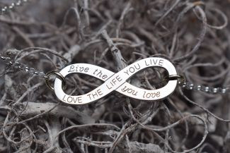 Sterling Silver Love The Life You Live Infinity Pendant