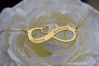 9ct Yellow Gold Plated Infinity With Heart Necklace